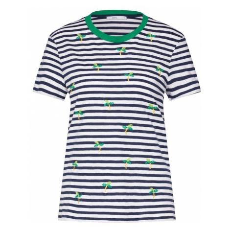 EDC BY ESPRIT Koszulka granatowy / zielony / biały