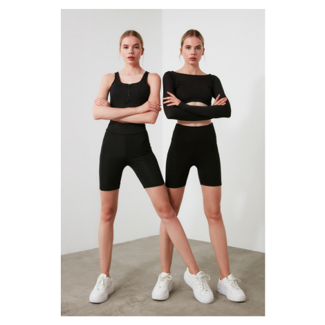 Trendyol Black Front Rib Se&E Detailed Biker Sports Tights