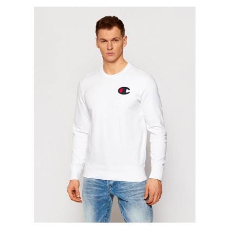 Champion Bluza Satin C Logo 214189 Biały Comfort Fit