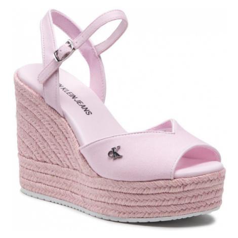 Calvin Klein Jeans Espadryle Wedge Sandal Ankle Strap YW0YW00121 Różowy