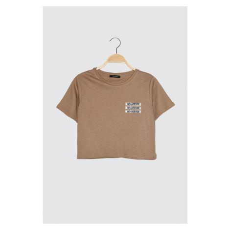 Modyol Crop Dzianinowy T-shirt Trendyol