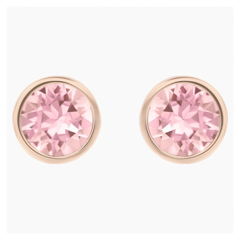 Solitaire Pierced Earrings, Pink, Rhodium plated Swarovski
