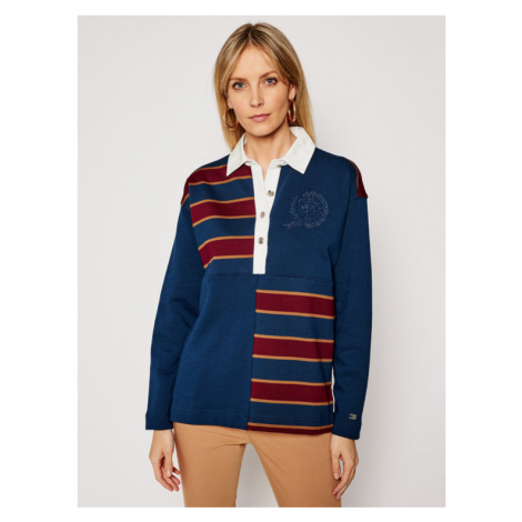 Tommy Hilfiger Sweter ICONS Rugby Top Ls WW0WW29393 Granatowy Oversize