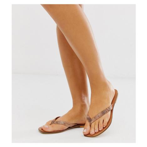 ASOS DESIGN Wide Fit Florence leather flip flop sandals in snake