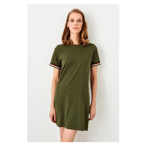 Trendyol Khaki Knitted Dress With Ribbon Detail