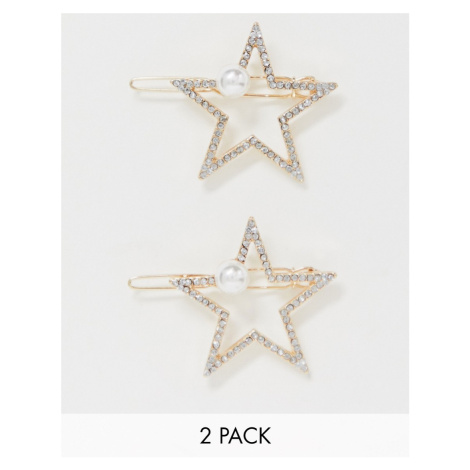 ASOS DESIGN pack of 2 hair clips in crystal star with pearl detail in gold tone