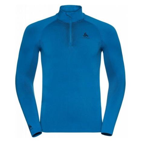 Odlo BL TOP TURTLE NECK L/S HALF ZIP PERFORMA niebieski M - Koszulka z zamkiem 1/2 męska