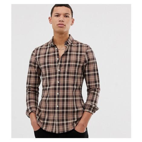 ASOS DESIGN Tall slim fit check shirt in brown