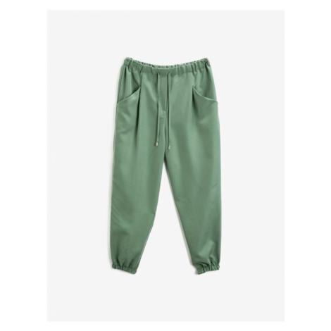 Koton Damskie spodnie w zielonej kieszeni w talii w workach