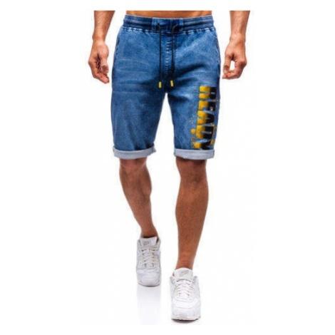 Krótkie spodenki jeansowe męskie granatowo-żółte Denley HY323 RED FIREBALL