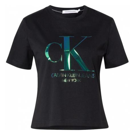 Calvin Klein Koszulka 'IRIDESCENT CK STRAIGHT TEE' zielony / czarny