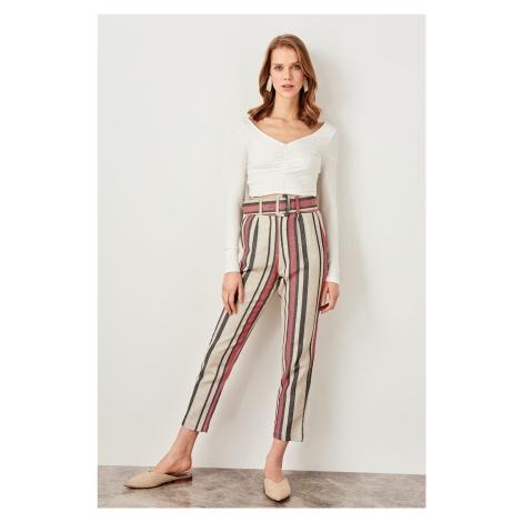 Trendyol Red Striped Belt Detailed Pants