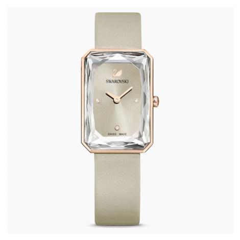 Zegarek Uptown, pasek ze skóry, szary, powłoka PVD w odcieniu różowego złota Swarovski