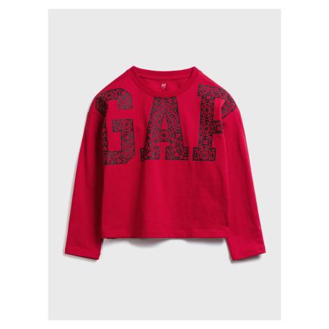 GAP czerwona koszulka dziecięca Logo jac ls cny tee