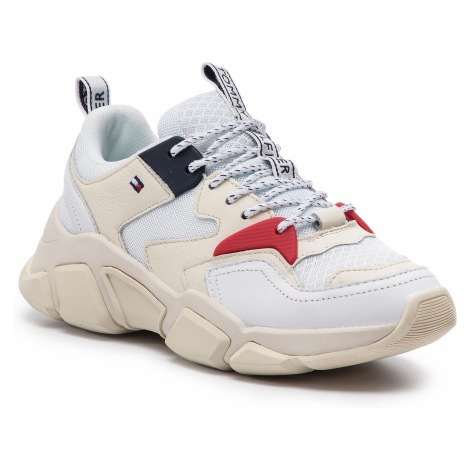 Sneakersy TOMMY HILFIGER - Wmn Chunky Mixed Textile Trainer FW0FW04065 White 100