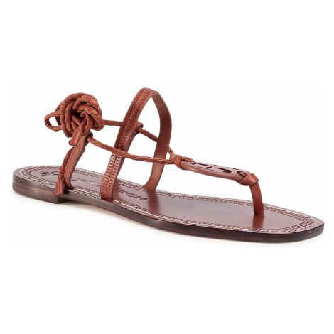 Sandały TORY BURCH - Miller Braided Ankle 63393 Dark Ambra/Dark Ambra 902