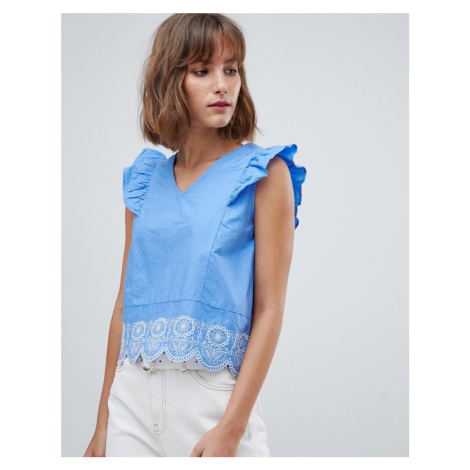 Mango broderie anglaise blouse with ruffle shoulder