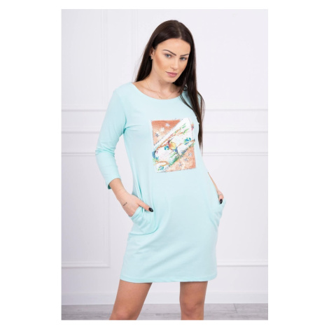 Sukienka z grafiką 3D Bird mięty