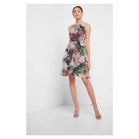 Sukienka w kwiaty z falbaną Orsay