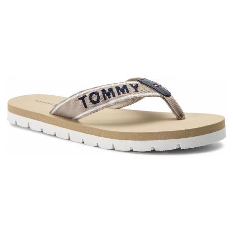Japonki TOMMY HILFIGER - Sporty Flat Beach Sandal FW0FW03884 Cobblestone 068