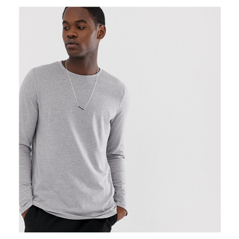 ASOS DESIGN Tall long sleeve t-shirt with crew neck in grey marl