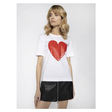 LOVE MOSCHINO T-Shirt W4F152BM 3876 Biały Regular Fit