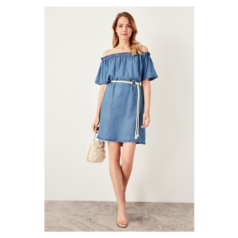 Trendyol M Carmen Collar Denim Dress