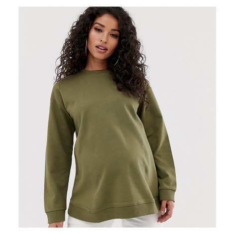 ASOS DESIGN Maternity ultimate sweatshirt in khaki