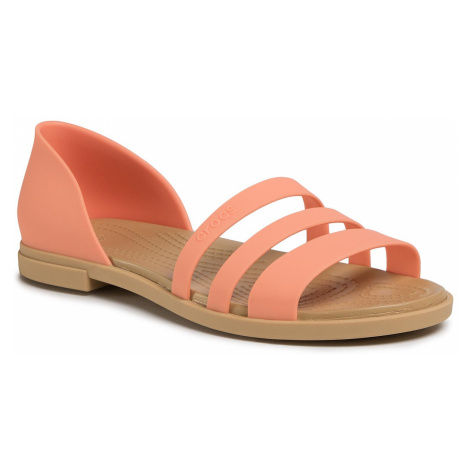 Sandały CROCS - Tulum Open Flat W 206109 Grapefruit/Tan
