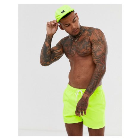ASOS DESIGN co-ord swim short in neon yellow short length
