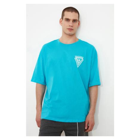 Trendyol Turquoise Męska koszulka z nadrukiem oversize z krótkim rękawem