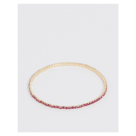 ASOS DESIGN stretch bracelet with pink crystal in gold tone