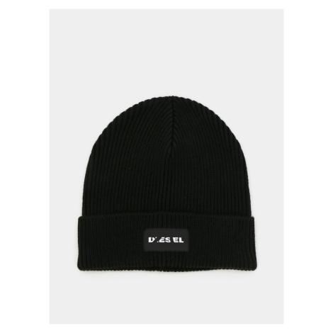 Czarna wełniana czapka z daszkiem Diesel