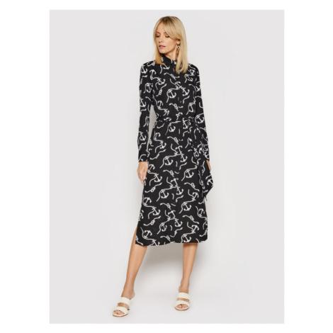 Lauren Ralph Lauren Sukienka koszulowa Print Belted Crepe 200819950001 Czarny Straight Fit