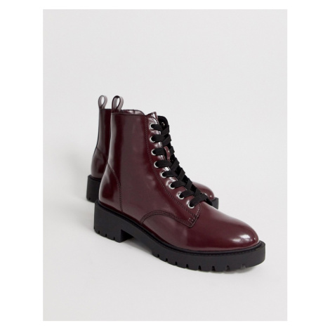 New Look lace up flat boots in dark red