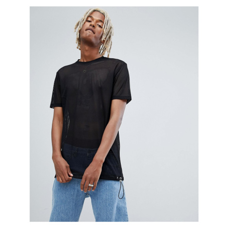 ASOS DESIGN relaxed longline t-shirt in mesh with toggle hem in black