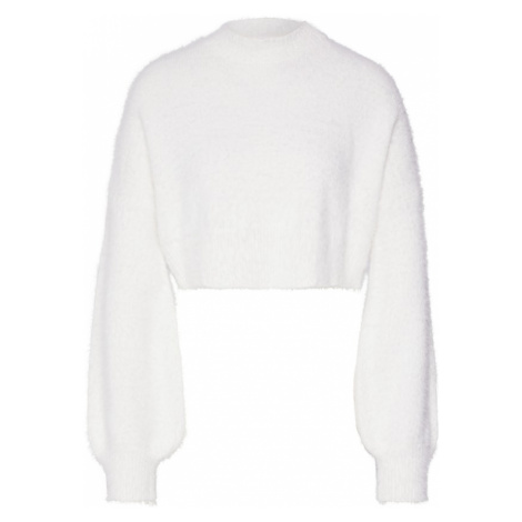 Missguided Sweter 'HIGH NECK FLUFFY BALOON SLEEVE JUMPER' biały