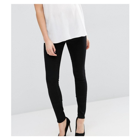 ASOS DESIGN Maternity Tall Ridley high waisted skinny jeans in clean black with under the bump w