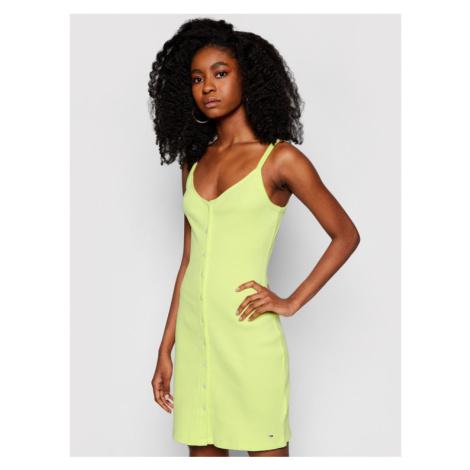 Tommy Jeans Sukienka letnia Button Thru DW0DW10117 Zielony Slim Fit Tommy Hilfiger
