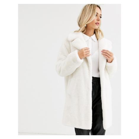 New Look faux fur coat in cream