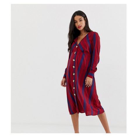 New Look Maternity stripe button through dress in multi