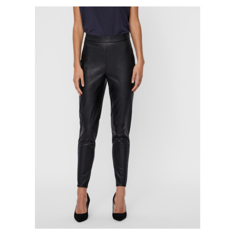 Czarne legginsy ze sztucznej skóry VERO MODA Janni
