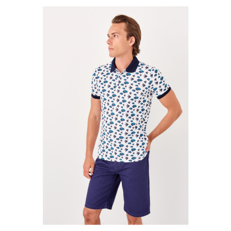 Trendyol White Mens Printed new Polo collar T-shirt