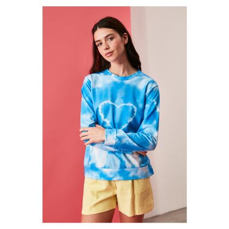 Trendyol Blue Batik Pattern knitted sweatshirt