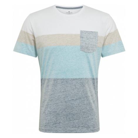 TOM TAILOR Koszulka biały / beżowy / niebieski