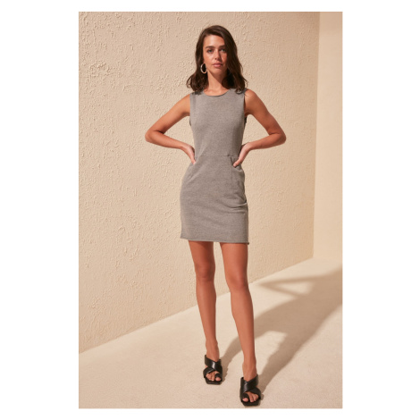 Trendyol Gray Pocket Knitting Dress