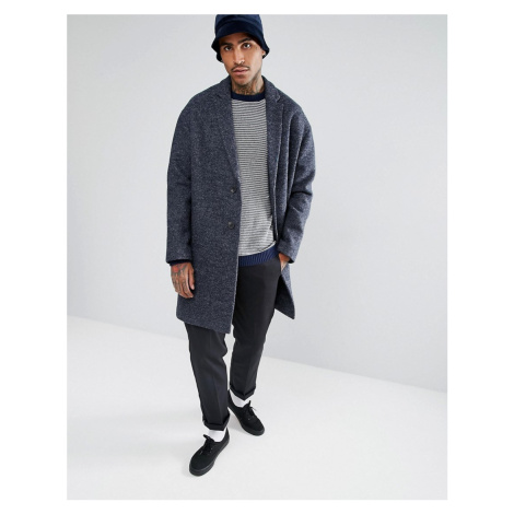 ASOS Wool Mix Drop Shoulder Overcoat In Blue Texture