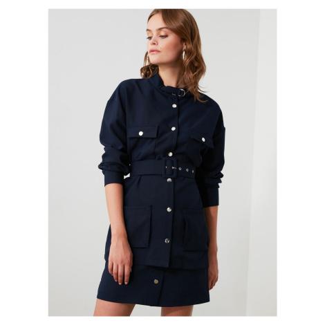 Trendyol granatowa sukienka koszulowa