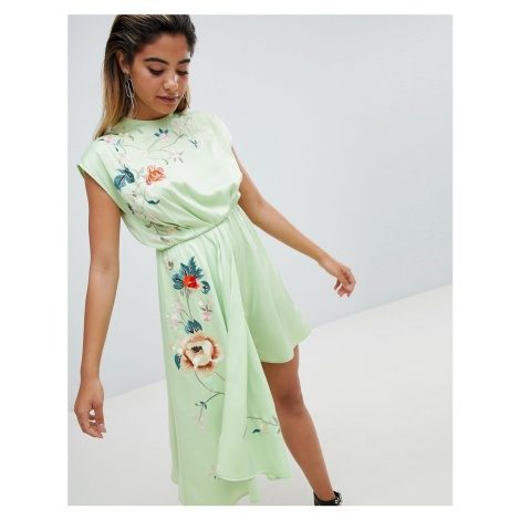 ASOS DESIGN Playsuit With Drape Side And Embroidery