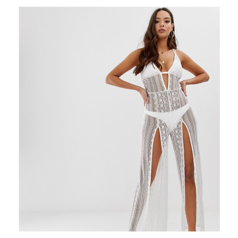 Miss Selfridge beach jumpsuit in white
